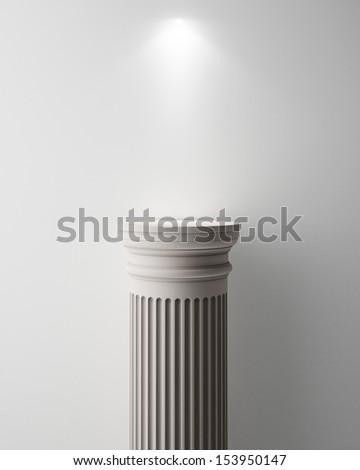 Exhibit Pillar with Light, render - stock photo