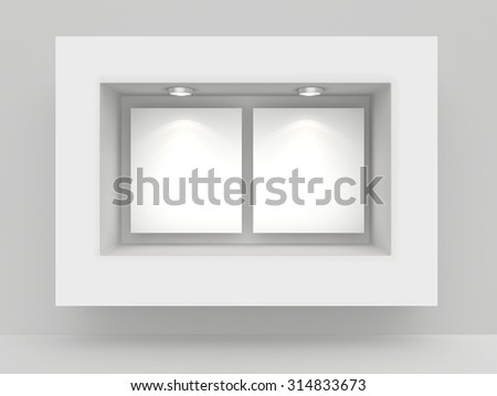 Exhibit Showcases with blank paper poster and light bulbs. - stock photo