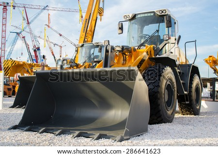 Exhibition of construction machinery and equipment in Russia June 2015 - stock photo