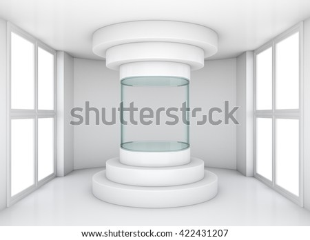 Exhibition space, empty cylindrical glass showcase in center white room with windows. 3D rendering - stock photo