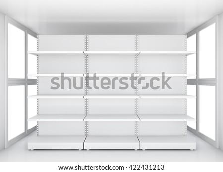 Exhibition space, Empty retail shelves. 3D illustration - stock photo
