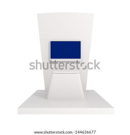 Exhibition Stand isolated on white - 3d illustration - stock photo