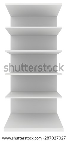 Exhibition stand shelves isolated on white background. - stock photo