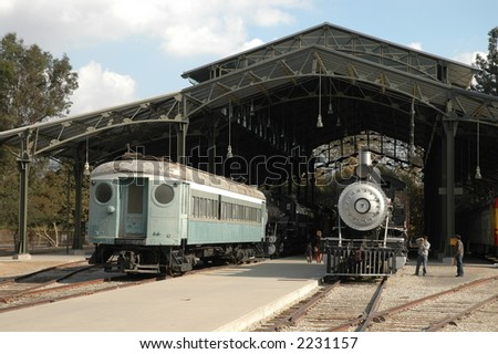 Exhibits at Travel Town museum, Los Angeles - stock photo