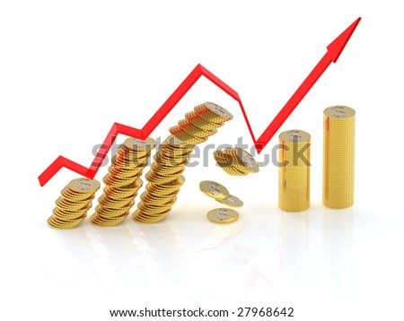 Exit from crisis. 3d graph with dollar coins. 4000x3000 pixels. - stock photo