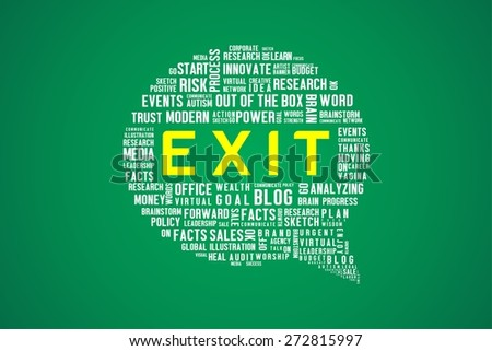 EXIT word on speech bubble in green background - stock photo