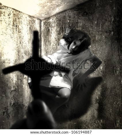 exorcism and woman possessed by devil grunge unique concept - stock photo