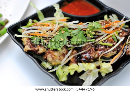 Exotic Asian vegetarian sweet and sour pork cuisine. Suitable for food and beverage, healthy lifestyle, and diet and nutrition. - stock photo