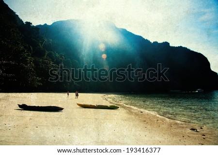 Exotic beach holiday background - vintage photo - stock photo
