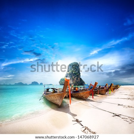Exotic beach travel destination. Paradise island in Thailand. Thai tourism beauty landscape  - stock photo