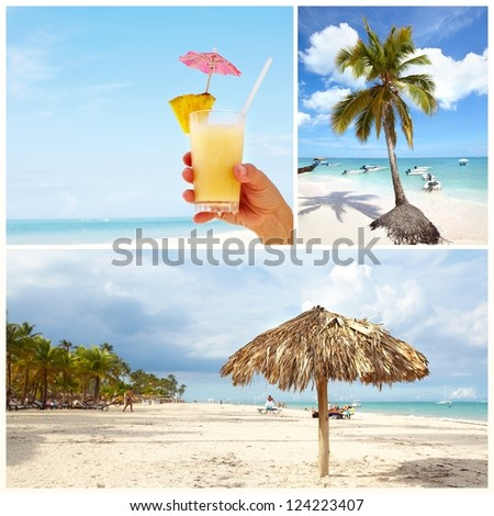 Exotic beautiful caribbean beach. Travel destination background. - stock photo