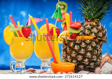 Exotic cocktail - stock photo