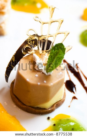 Exotic coffee and chocolate dessert topped with a mint leaf - stock photo