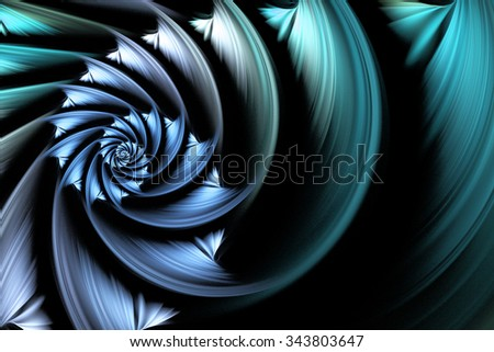 Exotic flower. Abstract shining multicolored spiral on black background. Computer-generated fractal in white, grey, blue and turquoise colors. - stock photo