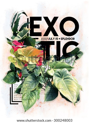 Exotic flowers graphic print with text on it. - stock photo