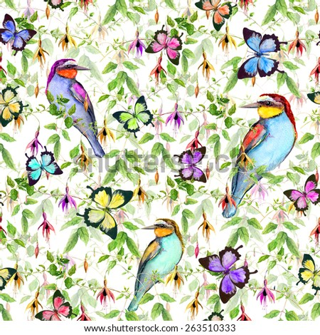 Exotic flowers, tropical  butterflies and birds. Seamless floral pattern. Watercolor - stock photo