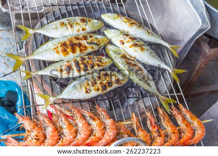 Exotic food, drinks and seafood Southeast Asia. - stock photo
