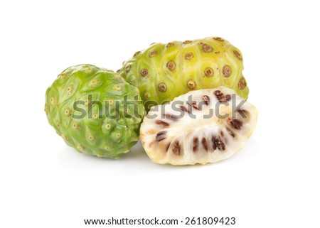 Exotic Fruit Noni on a white background - stock photo