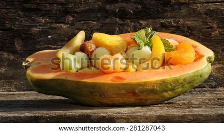 exotic fruit salad - stock photo