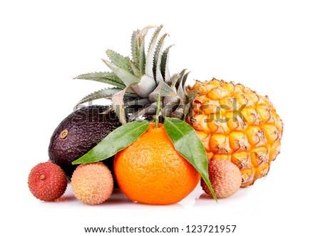 Exotic fruit still life on a white background closeup - stock photo