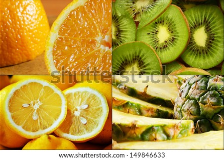 Exotic fruits collage of 4 images. - stock photo