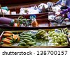 Exotic fruits for sale on Damnoen Saduak floating market - stock photo