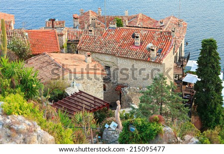 Exotic garden in Eze village, French Riviera - stock photo
