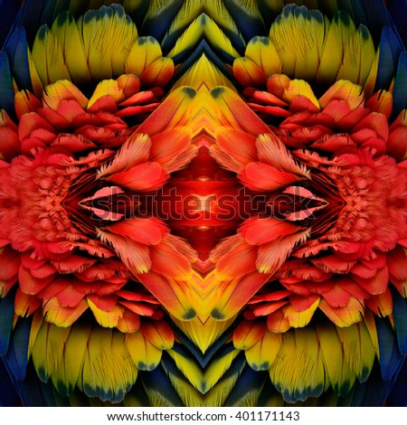 Exotic red and fire of colorful background made from Scarlet Macaw's parrot feathers, beautiful texture - stock photo