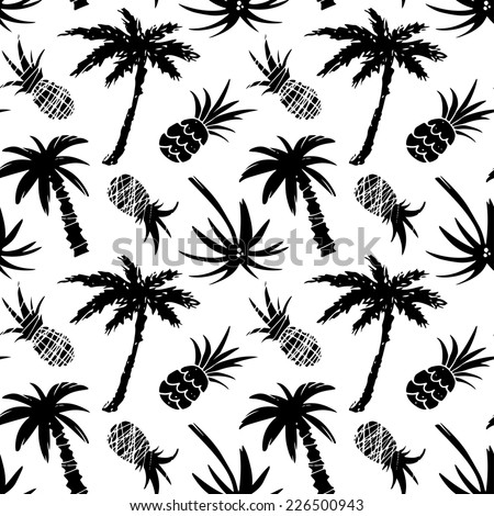 Exotic seamless pattern with silhouettes tropical coconut palm trees and pineapples. Forest, jungle repeating background. Abstract print texture. Cloth design. Wallpaper  - stock photo