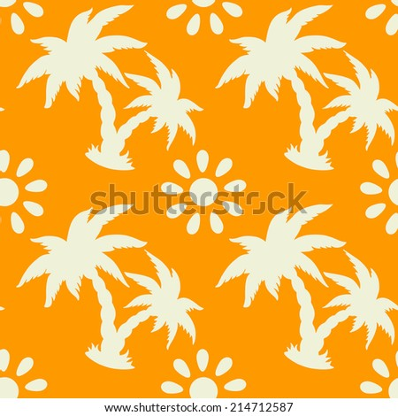 Exotic seamless pattern with silhouettes tropical coconut palm trees, sun, hammock. Hawaiian, caribbean  print.  Endless repeating background texture. Wallpaper - raster version - stock photo