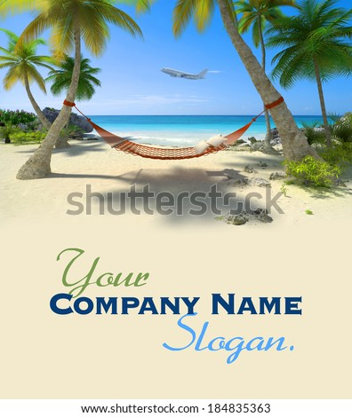 Exotic travel composition with a flying plane, a tropical beach with a hammock hanging from palm trees - stock photo