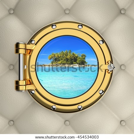 Exotic tropical island from the luxurious boat window. 3D illustration - stock photo