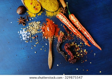 Exotically Spice Mix - spice, herbs, powder. Indian spices collection. Top View - stock photo