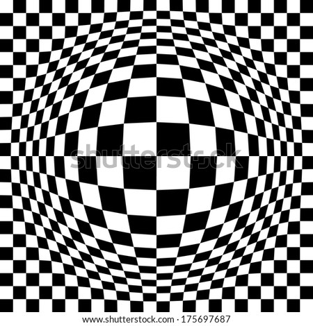 Expanded Optical Checkered pattern in black and white repeats seamlessly. - stock photo