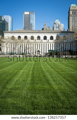 Expanse of Bryant Park lawn, New York City Library, Manhattan - stock photo