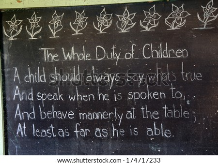 expectations for children - old school - stock photo