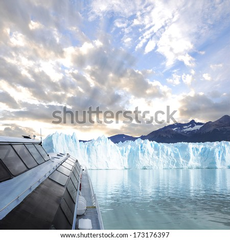 Expedition to the glacier. - stock photo