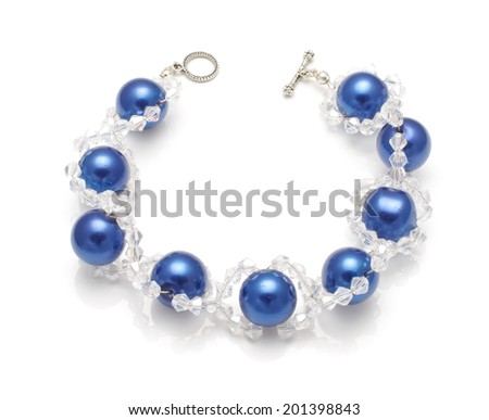 Expensive bracelet with crystals isolated on the white background - stock photo