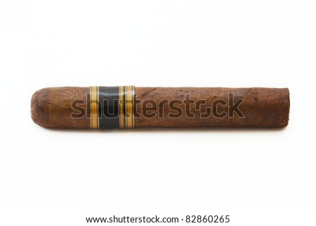 Expensive hand-rolled cigar on a while background - stock photo