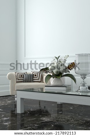 Expensive Interior of Luxury Sitting Room in Upscale Home with White Walls and Furnishings - stock photo