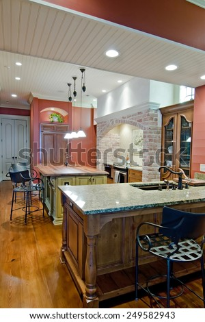 expensive kitchen remodel in Tuscan style - stock photo