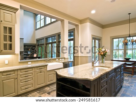 expensive kitchen remodel with open concept - stock photo
