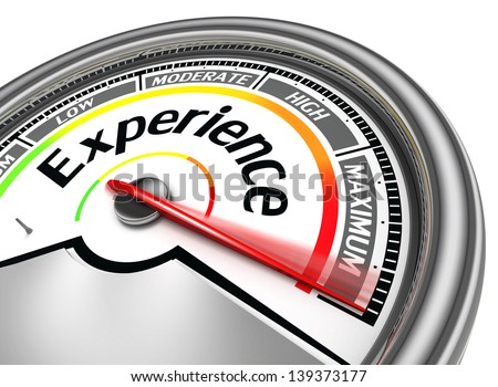 experience conceptual meter indicate maximum, isolated on white background - stock photo