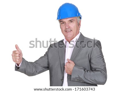 Experienced architect giving his approval - stock photo