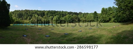 Experimental array at the University of Mississippi Field Station - stock photo