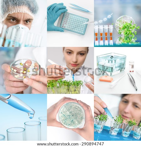 Experimental plant biology and workers in protective wear, set of matching pictures for your leaflet or webpage - stock photo