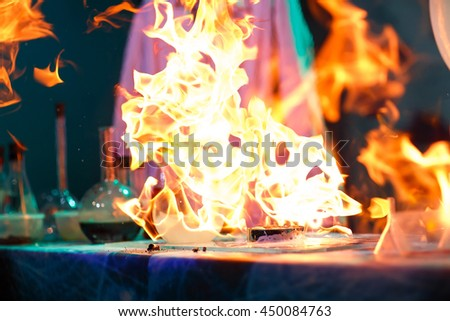 Experiments in a chemistry lab. The explosion in the laboratory. - stock photo