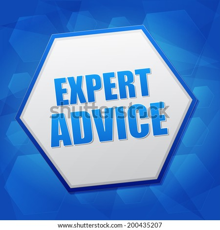 expert advice - business consult concept word in hexagon over blue background, flat design - stock photo
