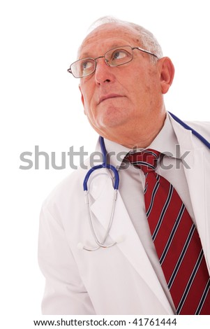 expertise doctor older man looking to the copy space - stock photo
