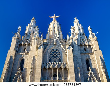 Expiatory Church of the Sacred Heart of Jesus in Barcelona, Spain - stock photo